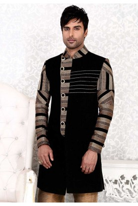 Tranquil Black Color & Jute Fabric Men`S Wear
