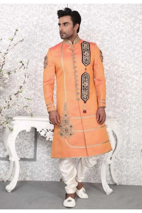 Charming Orange Color With Embroidery Work Men's Indo Western