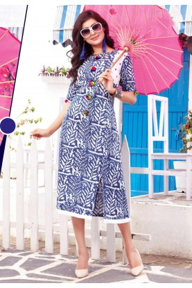 Blue,White Color Incredible Straight Kurti Style