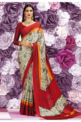 Cream Color Saree With Beautiful Printed Pallu