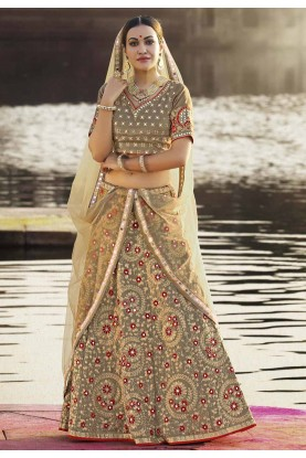 Grey,Golden Color Beautiful Designer Lehenga Choli