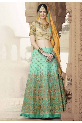 Women's Banarasi Silk Fabric & Turquoise Color Pretty A Line Lehenga Style