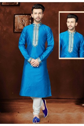 Blue Color Silk Fabric Readymade Kurta Pyjama