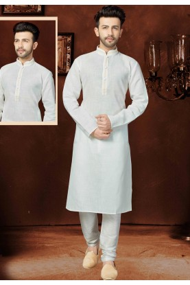 Exquisite Off White Color Cotton Readymade Kurta For Mens
