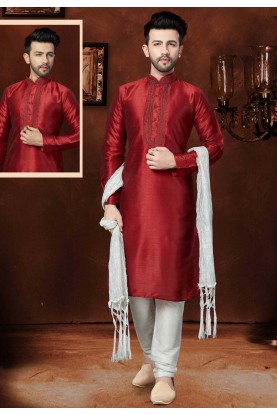 Maroon Color Readymade Kurta Pyjama
