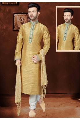 Incredible Raglan Sleeves Beige Color Readymade Kurta Pajama