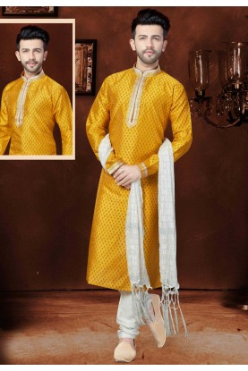 Exquisite Silk Yellow Color Men's Readymade Kurta Pajama.