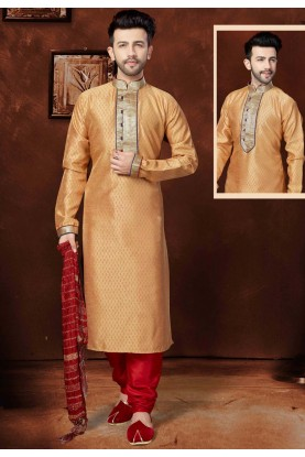 Men's Exquisite Beige Color Silk Fabric Readymade Kurta Pajama.