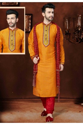 Traditional Look Orange Color Readymade Kurta Pajama