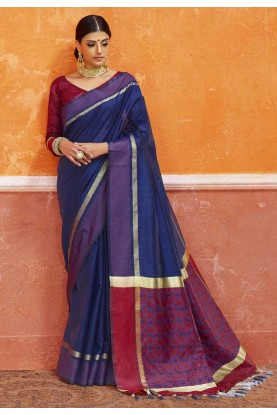 Nice-looking Plain Pallu Saree in Navy Blue Color