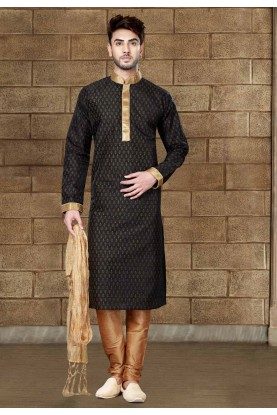 Exquisite Black Color Silk Readymade Kurta Pajama For Mens