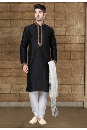 Exquisite Black Color Art Silk Readymade Kurta Pajama For Mens