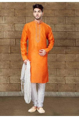 Exquisite Raglan Sleeves Men's Orange Color Readymade Kurta