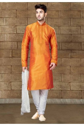 Exquisite Orange Color Readymade Kurta For Mens