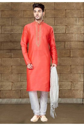 Exquisite Pink Color Art Silk Readymade Kurta