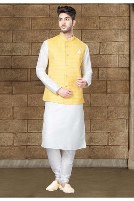 Off White Color Art Silk Readymade Kurta Pajama With Jacket