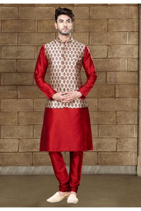 Exquisite Raglan Sleeves Men's Maroon Color Readymade Kurta Pajama With Jacket