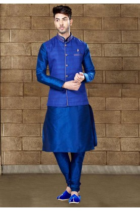 Men's Exquisite Royal Blue Color Kurta Pyjama With Jacket