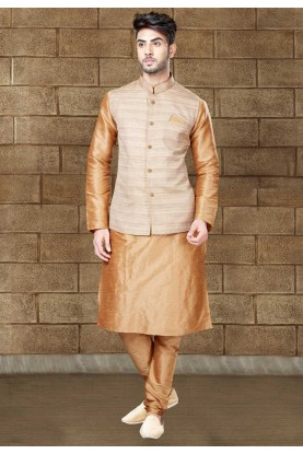 Golden Color Readymade Kurta Pajama With Jacket
