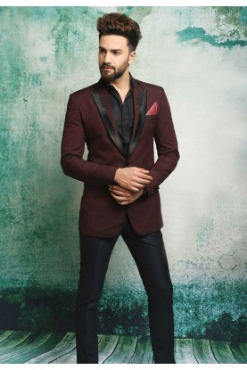 MAROON,WINE COLOR DASHING SUIT WITH ITALIAN FABRIC