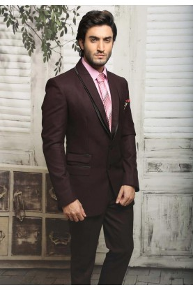 DASHING MAROON,WINE COLOR TUXEDO SUIT