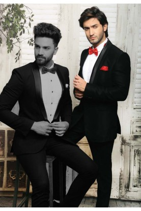 ELEGANT BLACK COLOR TUXEDO DESIGNER SUIT WITH ITALAN FABRIC