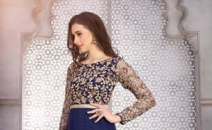 Anarkali Style Blue Cream Color With Embroidery Work Salwar Kameez