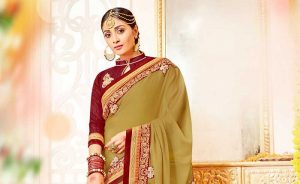 Lace Embroidery Work Beige Color Inspiring Saree