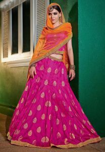 RaniPink Color Attractive Lehenga Choli With Brocade Fabric