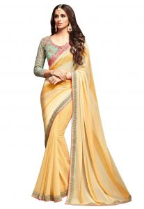 Women's Attractive Looking Ethnic Yellow Color Chiffon,Georgette Saree