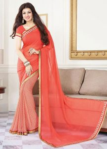 Georgette Based Coral Saree
