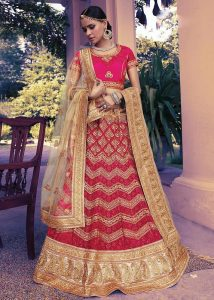 Women's Net Fabric & Deep Pink Pretty Circular Lehenga Style With Embroidery Work Dupatta