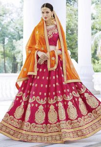 Light Maroon Color Attractive Lehenga Choli With Lace,Embroidered Work