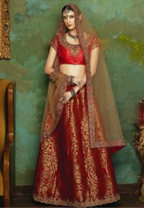 Women's Maroon Color & Banarasi Silk Fabric Pretty A Line Lehenga Style