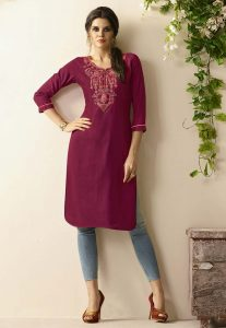 Beautiful Purple Color Embroidered Kurti