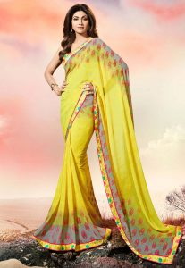 Classic Looking Georgette Yellow Color Women's Ethnic Saree