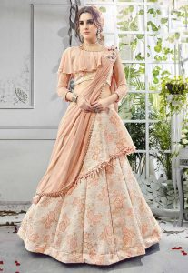 Peach Color Bridesmaid Lehenga Choli in Imported,Jacquard Fabric