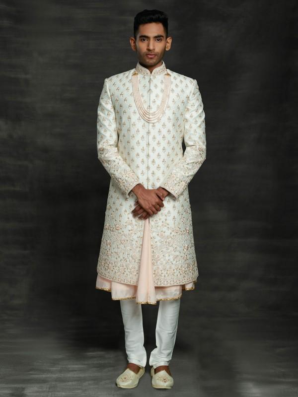 Off White Colour Silk Men's Sherwani With Zari,Thread,Hand Work.