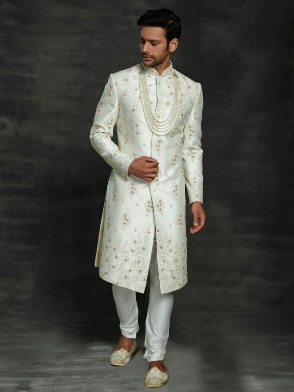 Off White Colour Silk Groom Sherwani.