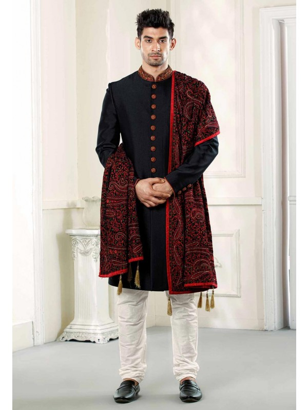 Buy designer sherwani in Black Colour with Embroidered Shawl