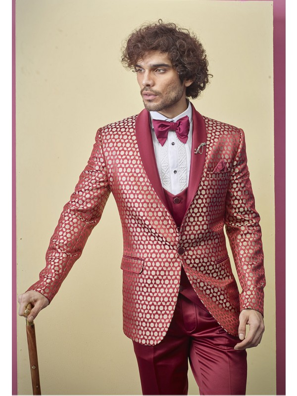 Red Colour Imported Fabric Designer Tuxedo.