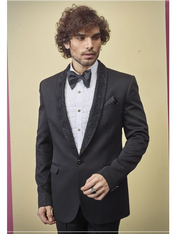 Black Colour Party Wear Designer Tuxedo Suit.