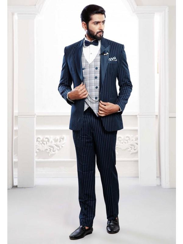 Buy designer party wear suits for men in blue colour