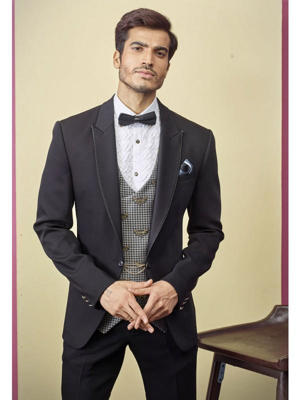 Designer Tuxedo Suit Black Colour.