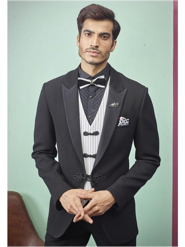 Black Colour Imported Fabric Men's Suit.