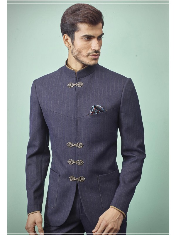Men's Designer Jodhpuri Suit Grey,Blue Colour.