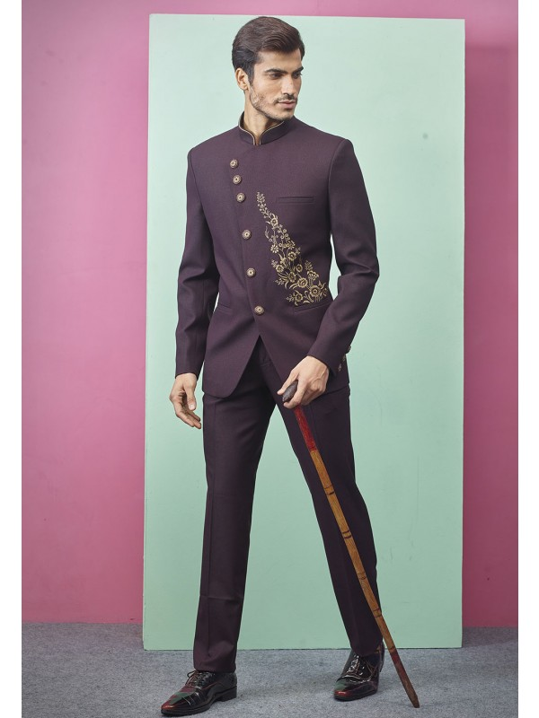 Party Wear Jodhpuri Suit Wine Color.
