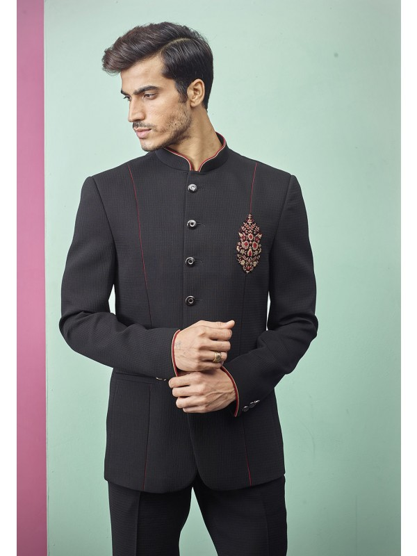 Black Colour Indian Jodhpuri Suit.