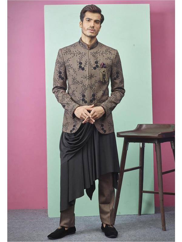 Exclusive Designer Jodhpuri Suit Brown Colour.
