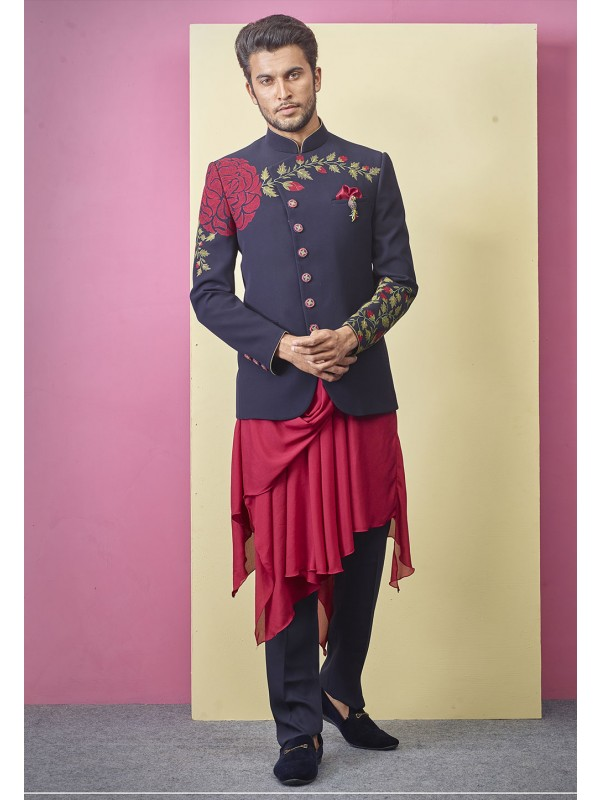Elegant Look Blue Colour Designer Jodhpuri Suit.